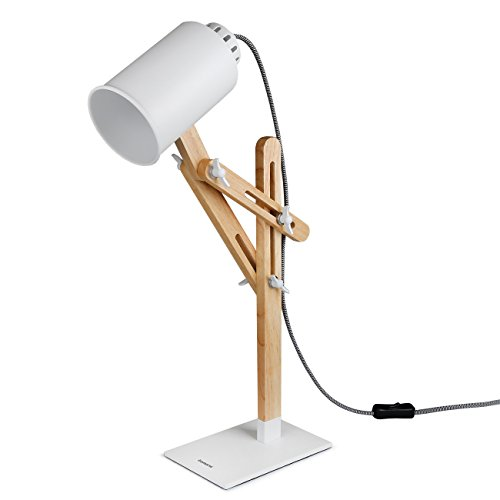 Tomons木製多角度スイングアームデスク テーブル オフィス ベッドサイド ナイトスタンド 読書 勉強 仕事 E26 / 27ソケットLED /蛍光灯/白熱灯ライト使用可能 マルチライトカラー、25W及び以下 - 白