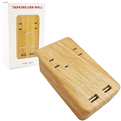 Fargo インテリア おしゃれ 壁さし 電源タップ 国内サポート対応 1年保証付 TAPKING USB WALL ベージュウッド AC2個口 3.4A 急速充電 USB2ポート スマホスタンド PT221BEWD