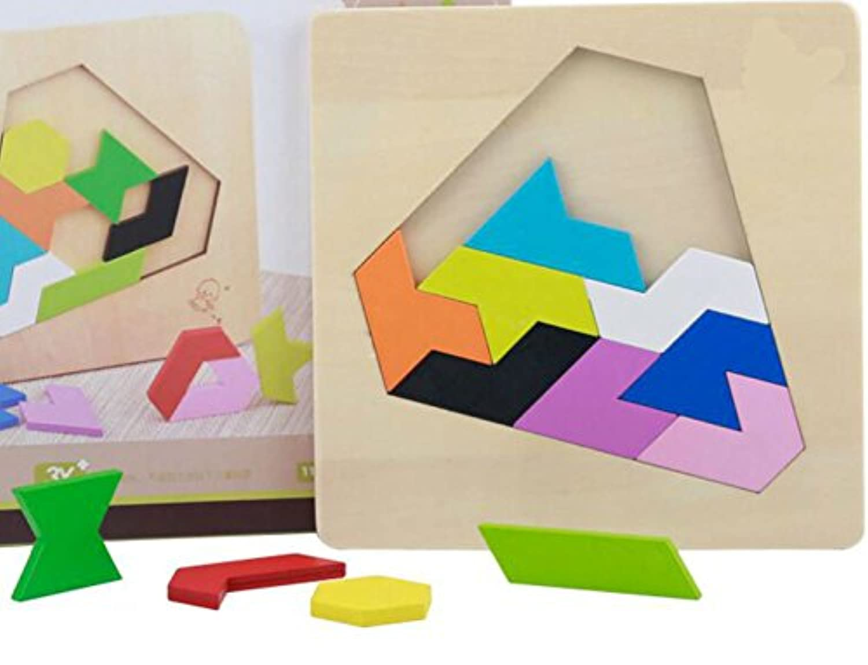 HuaQingPiJu-JP 高品質の木製カラフルなパズルアーリーラーニングの数字の形の色の動物のおもちゃファンタスティックギフトキッズ(ダイヤモンド)