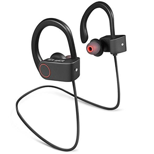 PARCOCO Bluetooth4.1 スポーツイヤホン ワイヤレス耳掛け式 ヘッドセット 防汗仕様 ノイズ低減の仕組み iPhone&Android スマートフォンに対応-ブラック