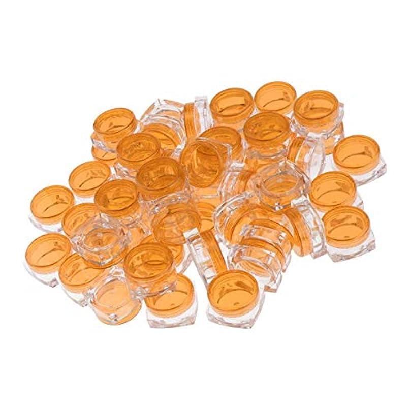 ゼロ精緻化悪用50個セット 小分けケース 化粧品収納容器 詰め替え容器 クリームケース 5グラム 全8色 - オレンジ