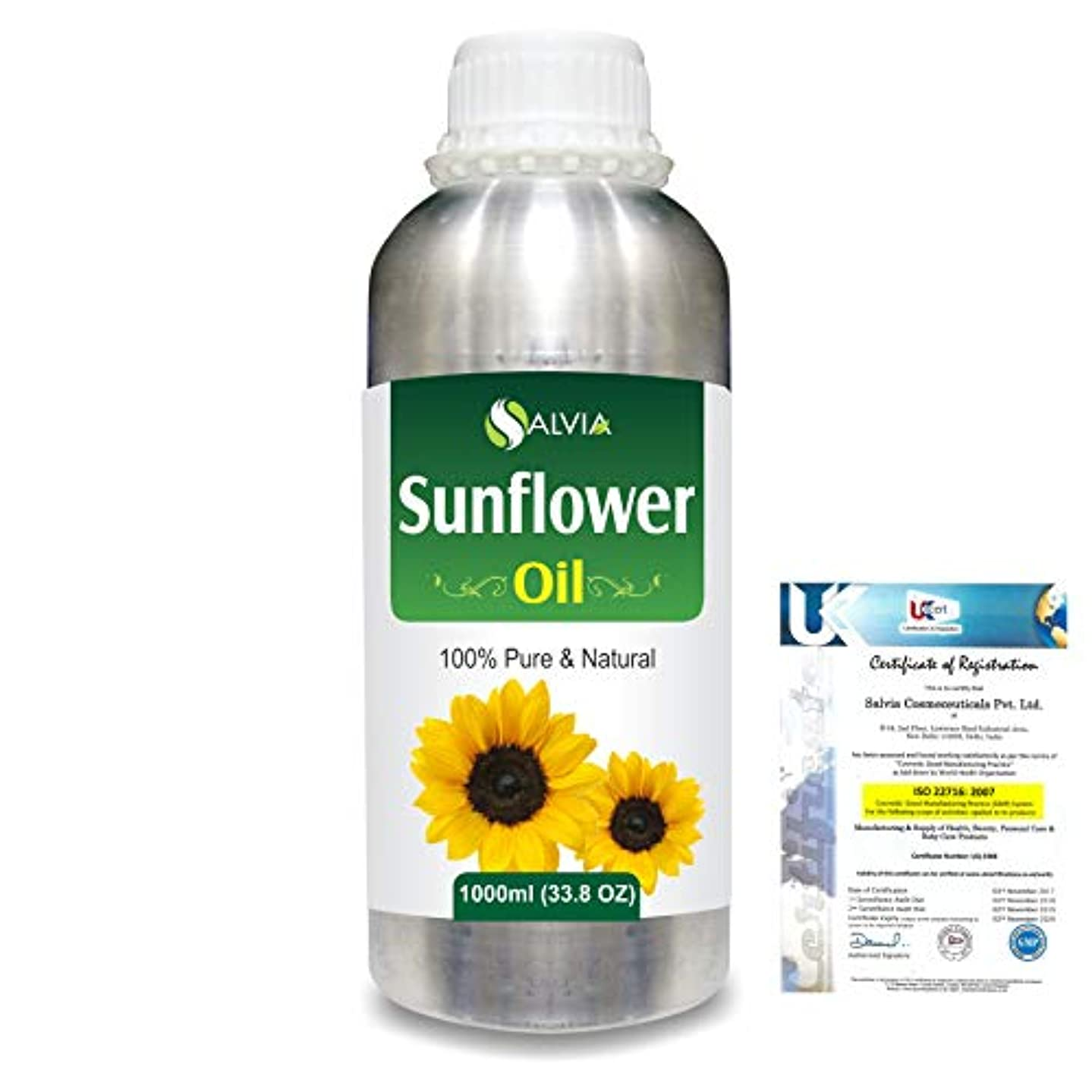バングラデシュワーカー異常Sunflower (Helianthus annuus)100% Natural Pure Carrier Oil 1000ml/33.8fl.oz.