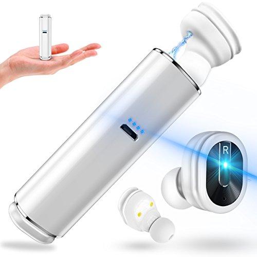 Bluetooth イヤホン 完全 ワイヤレスイヤホン 高音質 ブルートゥース ヘッドセット 両耳 充電ケース付 超軽量 コンパクト 左右分離型 マイク内蔵 ハンズフリー通話 IPX5防水 iPhone Android 対応 (ホワイト)