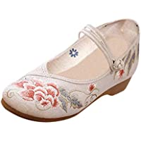Aiweijia Chinese style Women's Embroidered shoes Dancing shoes Buckle Flowers Casual shoes