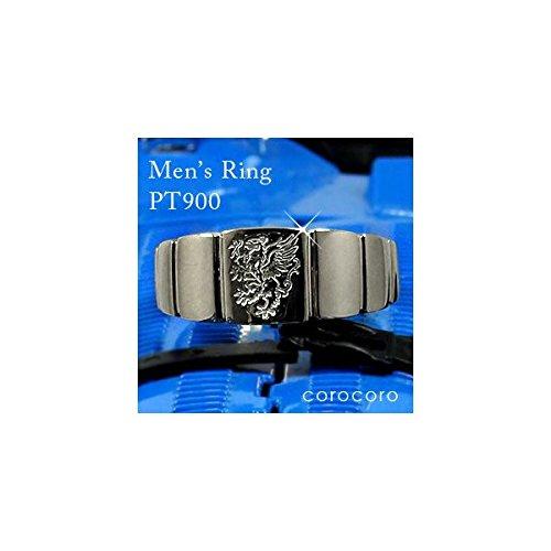 プラチナリング指輪印台メンズリングライオン紋章入りシンプルメンズリング