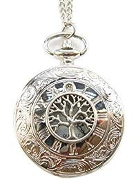 ツリーポケット時計ネックレス、ツリーの生活、古代シルバー、ファミリーツリー、誕生日ギフト、ギフトfor Her、