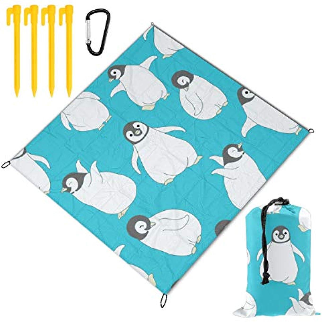 構造マラドロイト固める可愛い ペンギン 折り畳めるピクニックマット 防水防湿パッド 公園マット キャンプマット 超軽くて便利な携帯用防水ピクニックマット 145x150cm