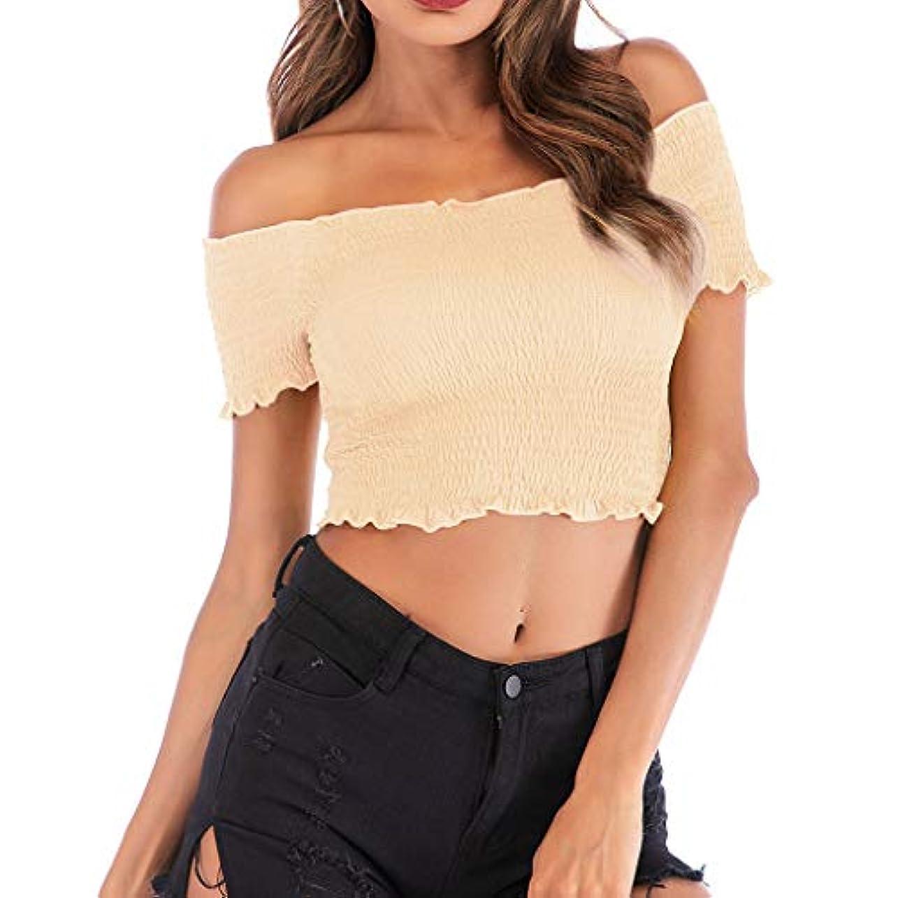 女性のしわストラップレス半袖トップスカジュアルカジュアルフリルタイツツイストショートTシャツ (ベージュ, L)