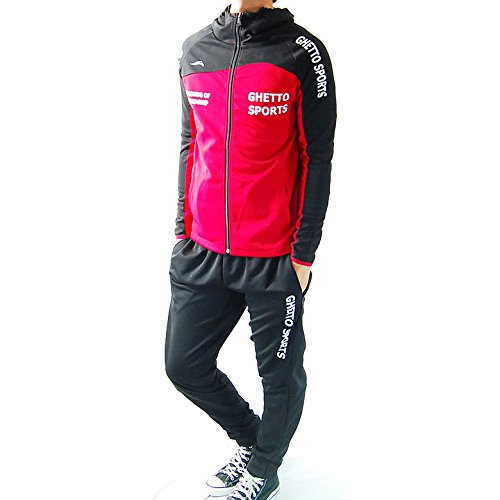 (フリースタイル)Freestyle ランニングウェア 上下セット スポーツ パーカー ジャージ 2717 レッド×ブラック M