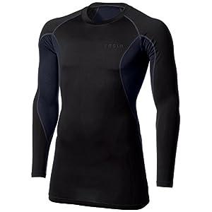 [テスラ] オールシーズン 高機能メッシュ 長袖 ラウンドネック スポーツシャツ [UVカット・吸汗速乾] コンプレッションウェア メンズ MUD71 V-MUD71-BKH(ブラツク/チャコール) 日本 S (日本サイズS相当)