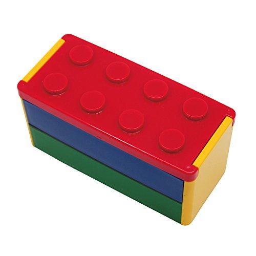 プライムナカムラ ロック式ブロック2段弁当箱 (RD) デザイン ロック式 レンジ対応 食洗器対応 箸付き (660ml)