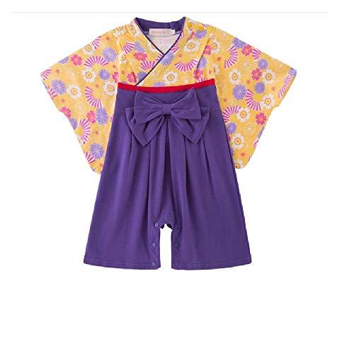 ef9e8c31bafd6 袴風 ロンパース カバーオール ベビー の子 宮参り 花飾りと下駄風靴下付き (紫色