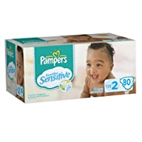 Pampers Swaddlers Sensitive Diapers, Super Pack, Size 2, 80 Count by Pampers