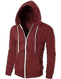 gawaga メンズファッションカジュアルロングスリーブパーカースウェットシャツジャケット