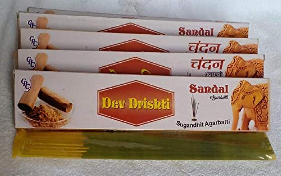 煙自伝曲がったDev Drishti Sandal Agarbatti Pack Of 12 (Per Pack of 15 Sticks)