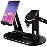 Charging Stand Compatible Samsung Glalaxy Watch Active Charger, NaHai 4 in 1 Silicone Charging Stand Dock Holder for Samsung Galaxy Watch Active 40mm SM-R500 Smart Watch (Active: Black Stand)