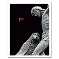Statues Jesus Our Lady Lunar Eclipse Art Print Framed Poster Wall Decor 12X16 Inch 像ポスター壁デコ
