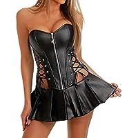 Elonglin Womens Sexy Black Bustier Corset Steampunk Gothic Faux Leather Boned Waist Cincher Shapewear Top