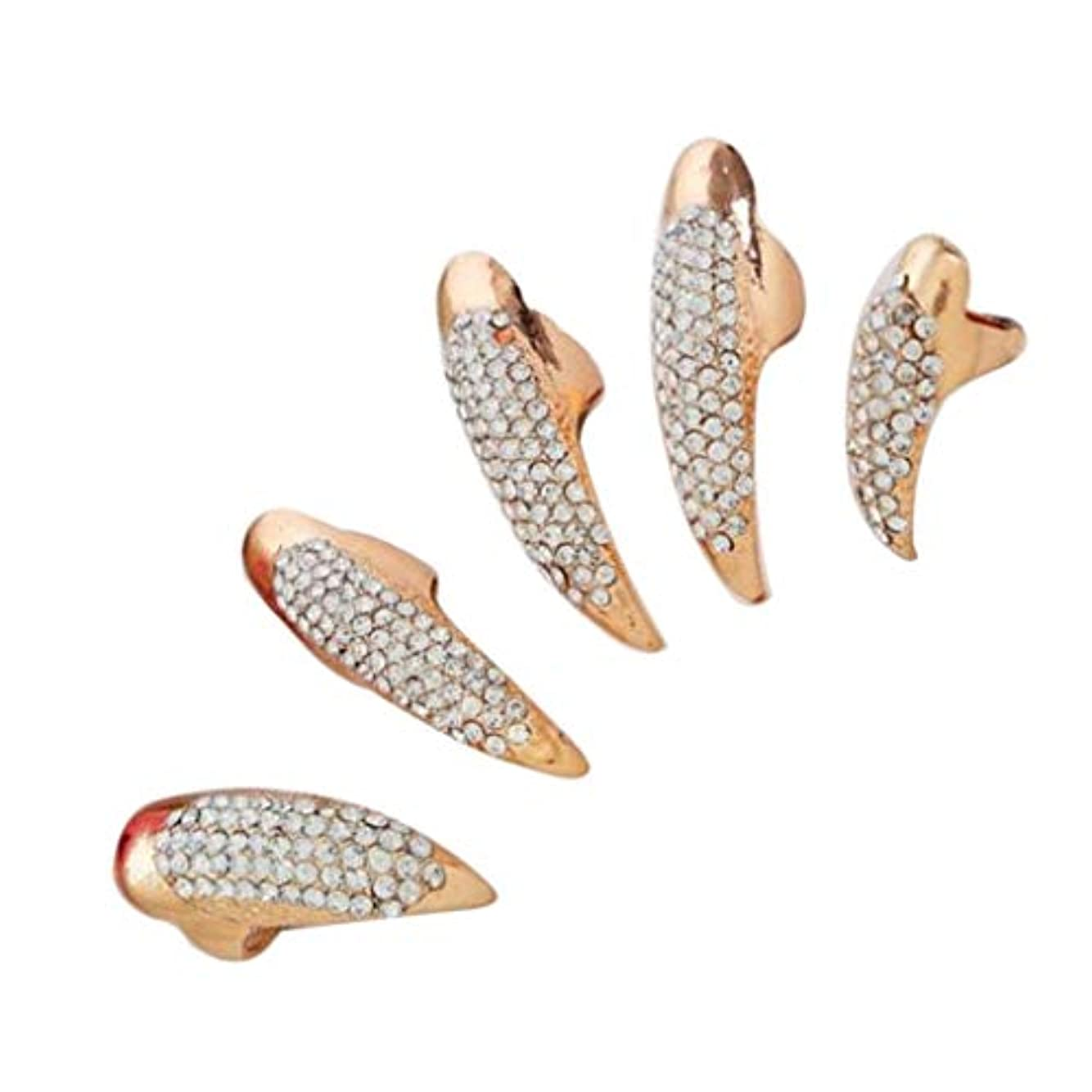 シリアル折り目拮抗するSM SunniMix ネイルリング チップリング 爪の指輪 指先の指輪 ネイルアート フォークリング 2色選べ - ゴールデン