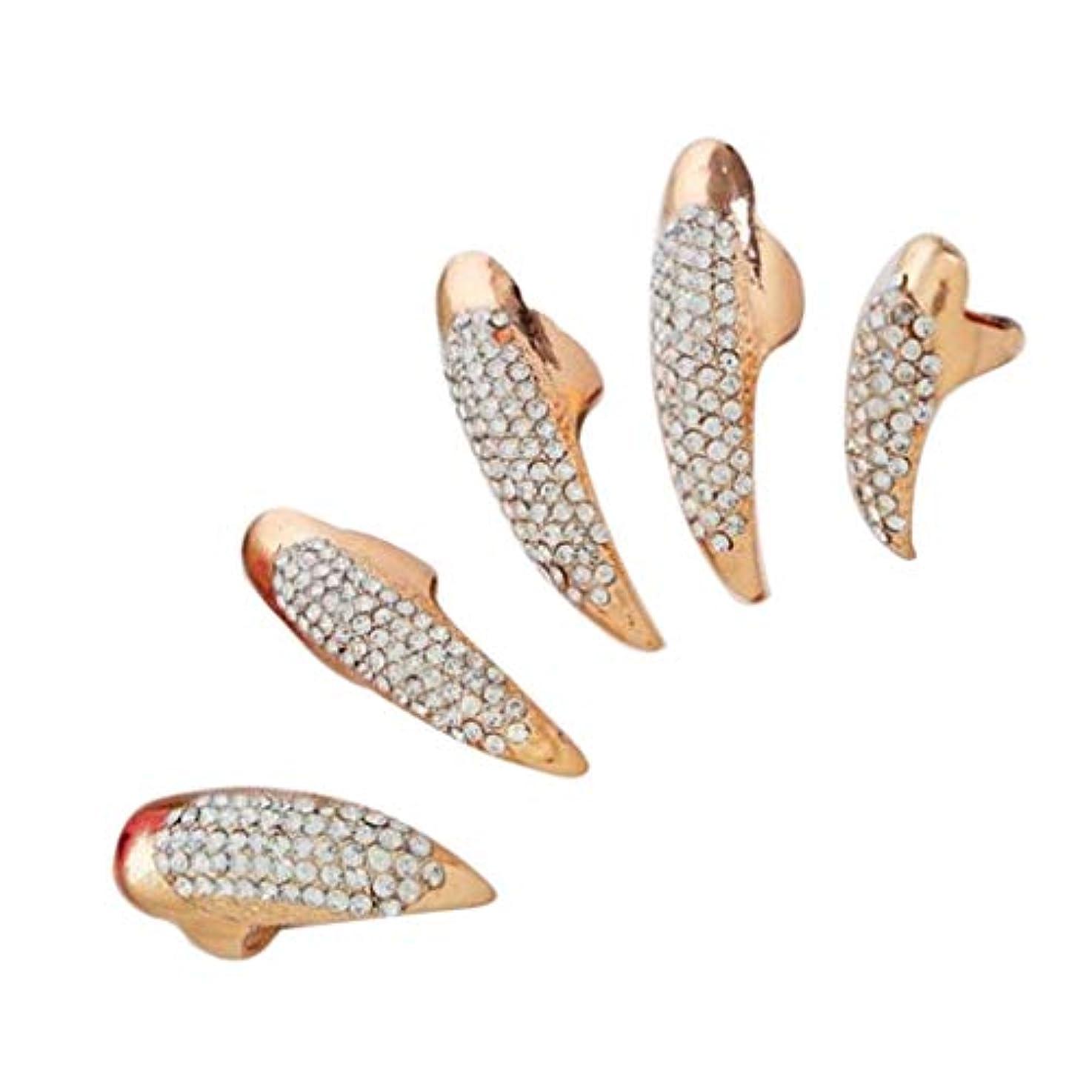 プランテーションきれいに精神的にネイルリング チップリング 爪の指輪 指先の指輪 ネイルアート フォークリング 2色選べ - ゴールデン