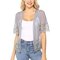 Aibrou Short Sleeve Cardigans Lace Boleras Shrugs for Women Dress S-XXL
