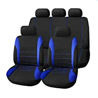 9個/セットカーシートカバー快適な防塵シートプロテクターパッドカバー車両用のユニバーサルフルシートカバー(ブルー)(PandaWelly)