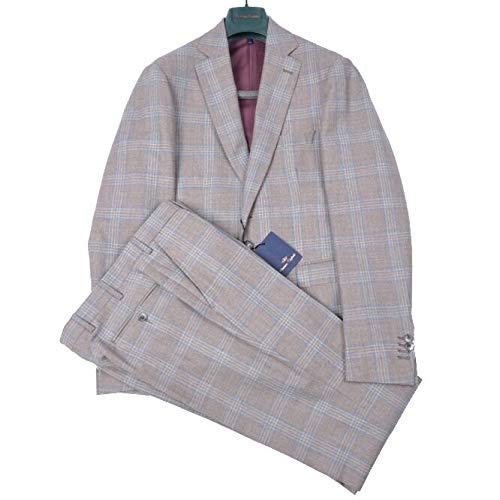Domenico tagliente (ドメニコ) スーツ 2つボタン シングル メンズ 秋冬 3シーズン ヴァージンウール 100% チェック ライト ブラウン ブルー M【並行輸入品】