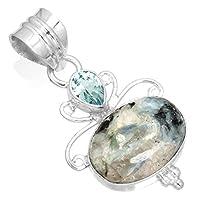自然 ブルー グリーン 藍晶石 ジェムス トーン ペンダント 固体 925 スターリング シルバー デザイナー ジュエリー