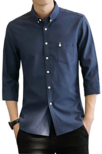 yシャツ メンズ オックスフォード シャツ メンズ 半袖 無地 春 夏 秋 SY-17011 (L, 7011-SL)