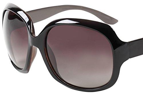 PENGIN PC® (ペンギン ピーシー) サングラス レディース uvカット 人気 レディース サングラス 偏光 ビッグフレーム 大きめ 海 UV400 紫外線 カット率99.9 % 偏光レンズ ケース&メガネ拭き4点セット (1コーヒー)