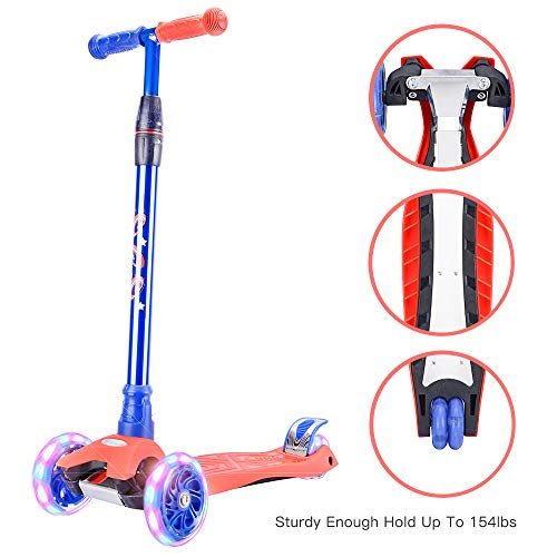 Wonderview キッズ スクーター、3輪スケーター、ミニキックスケーター、4段階調節可能、PU車輪、幅広いボート