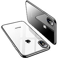 TORRAS iPhone x ケース アイフォンxケース【高品質TPU/クリア/超薄型/メッキでピカピカ】ソフト Qi 充電 対応 アイホンx 耐衝撃カバー(ブラック)