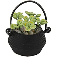 Dolls House Miniature Garden Accessory Hanging Black Basket Pot Green Plant