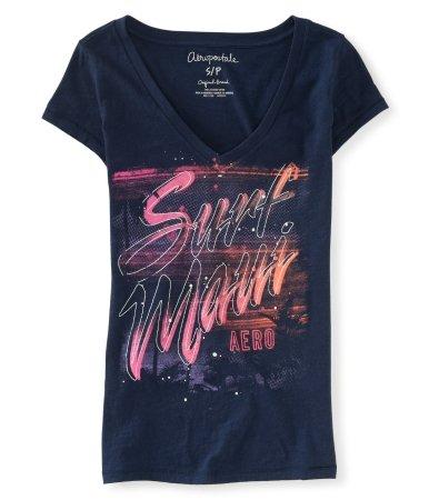 (エアロポステール) AEROPOSTALE 並行輸入品 半袖Tシャツ Surf Maui V-Neck Graphic T レディース ネイビーナイト