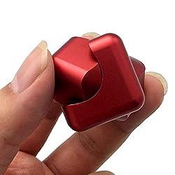 Smato 指スピナー スピン ウィジェット フォーカス 玩具 ハンドスピナー Hand spinner Fidget Spinner Toy EDC ADHD ストレス解消 暇つぶし 脳トレー ボールベアリング (レッド(cube型))