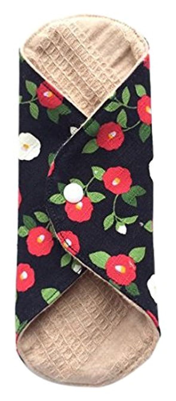 変わる摩擦子供時代華布 オーガニックコットンのあたため布 Mサイズ(約15×約15cm) 華椿(黒)