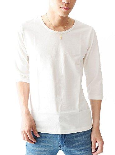 ホワイトU S (ベストマート)BestMart マリン ボーダー 7分袖 七分袖 ストレッチ スリム Tシャツ カットソー メンズ クルーネック ボートネック Uネック Vネック おしゃれ シャツ ボーダーTシャツ Tシャツボーダー 無地 605072-004-220