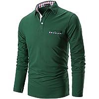 STTLZMC Polo Shirts Men Long Sleeve Casual Fit Plaid Collar T-Shirts