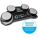 Alesis CompactKit 4 | Ultra-portable Electronic 4-Pad Tabletop Drum Kit with Velocity-Sensitive Drum Pads, 70 Drum Sounds, Coaching Feature, Game Functions, Battery or AC-Power and Sticks Included
