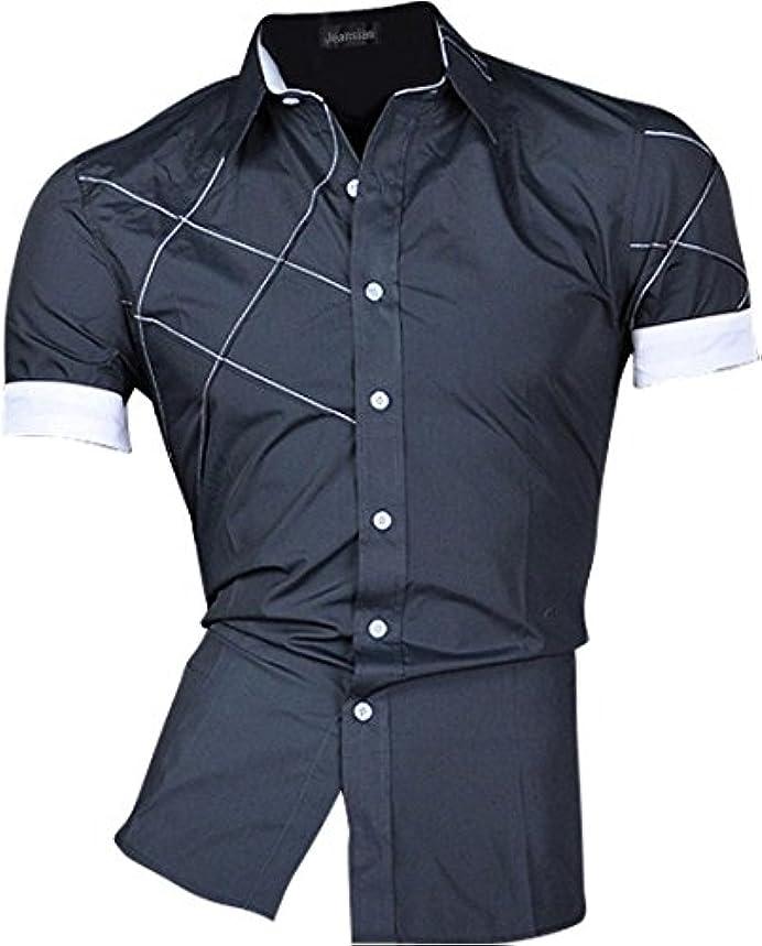 遅滞報告書後者(ジーンズイアン)Jeansian人気のメンズシンプルな半袖夏のカジュアルなシャツスリム【並行輸入品】Z003