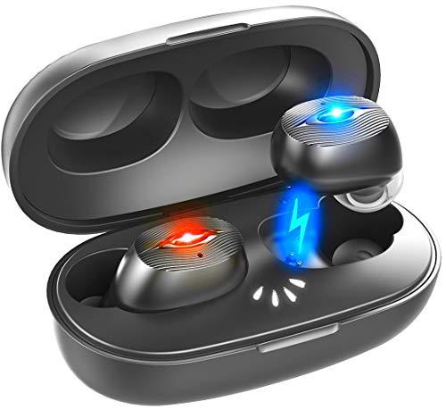 【進化版 IPX7完全防水】Bluetooth イヤホン Hi-Fi 高音質 最新Bluetooth5.0+EDR搭載 3Dステレオサウンド 完全ワイヤレス イヤホン 自動ペアリング ブルートゥース イヤホン 左右分離型 Siri対応 音量調整可能 超大容量充電ケース付き 片耳&両耳とも対応 iPhone/ipad/Android適用[技適認証済] (HT0B-30)