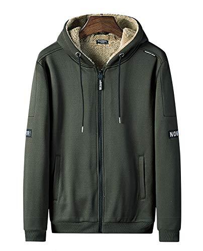 パーカー メンズ ボタン スウェット コート 厚手 裏起毛 トップス 無地 長袖 服 メンズ 秋 冬 春 フード付 军绿 L