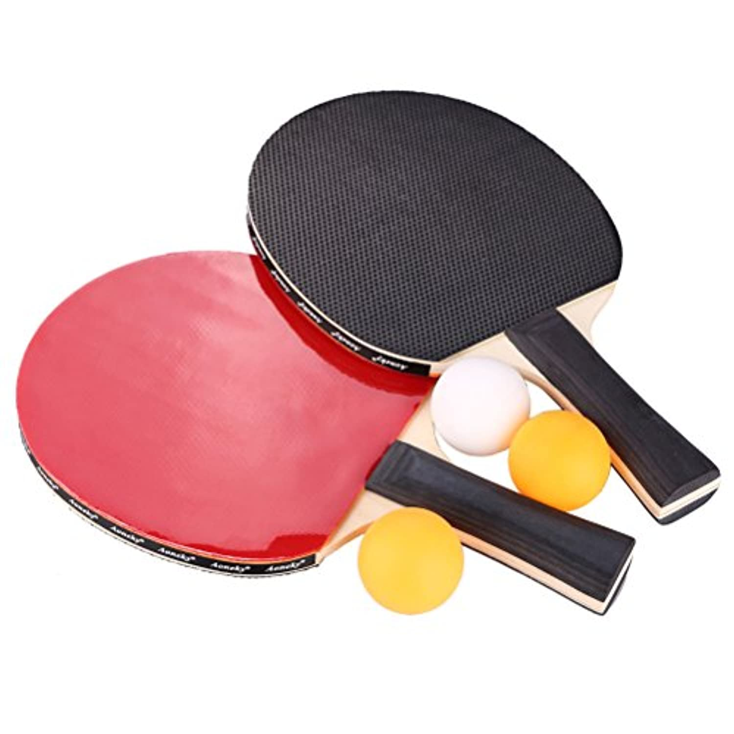 [Aoneky]Aoneky Ping Pong Paddle Set 2 Player Table Tennis Paddles with Cover and Balls 7977BK7718 [並行輸入品]