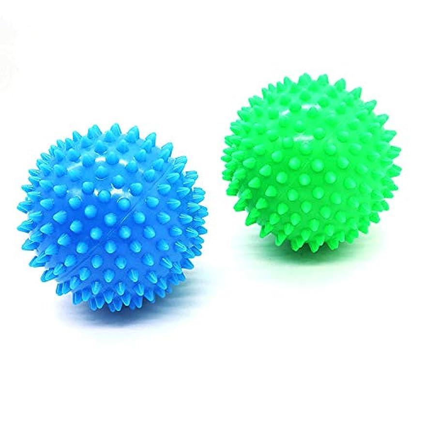 エンターテインメントロゴマッサージボール 筋筋膜リリース 触覚ボール トレーニングボール 血液循環促進 青 緑 2個セット