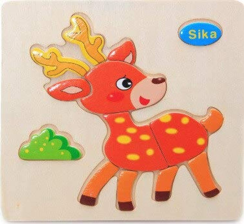POOMQWZ 赤ちゃんのおもちゃ木製パズルかわいい漫画の動物の知能子供教育頭の体操子供タングラム形状ジグソーパズルギフト