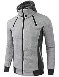 maweisong メンズフーディスリムフィットダブルジッパーフード付きスウェットシャツジャケット
