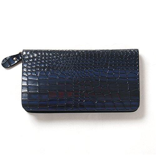 【サンタリート】 Santareet 本革 型押し メンズ ラウンド ファスナー 財布 ブルー