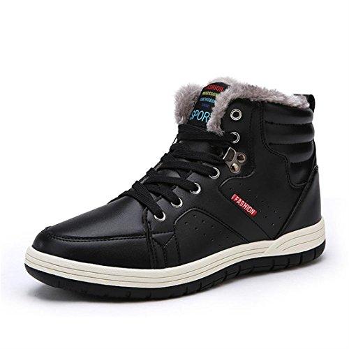 Sixspace アウトドアシューズ メンズ 防水 スノーブーツ ウィンターブーツ 防寒 綿靴 滑り止め ブラック 29cm