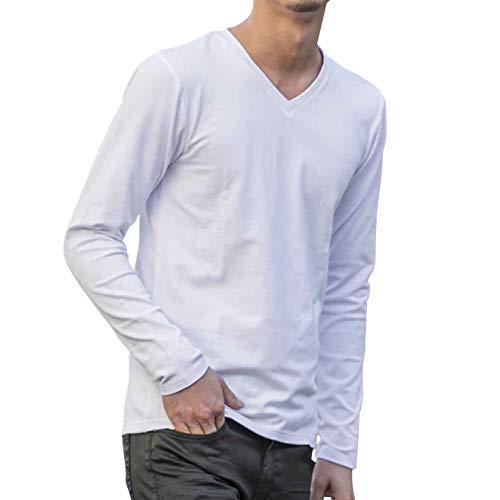 (エーエスエム)A.S.M コットン モダール ベア 天竺 長袖V ネック ロング Tシャツ 02-61-9778 48(M) ホワイト