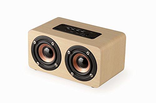 Bluetooth スピーカー タッチ 3dステレオ ワイヤレススピーカー 内蔵マイク搭載 高音質マイク内蔵 大音量 5W*2拡声器 強化された低音出力 ハンズフリー 通話 ブルートゥース おしゃれ 木目調 11時間連続再生 (クラシック) (白)